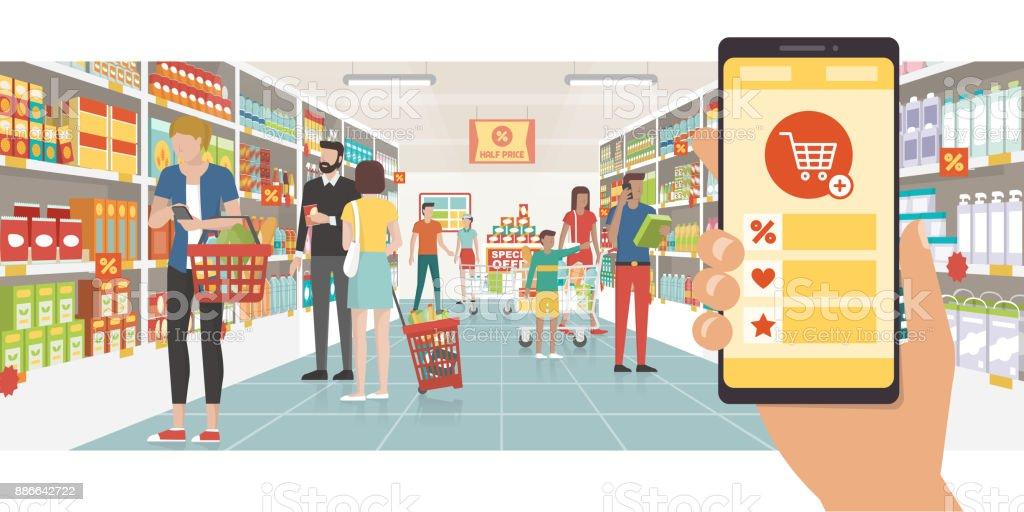 Grocery shopping app vector art illustration