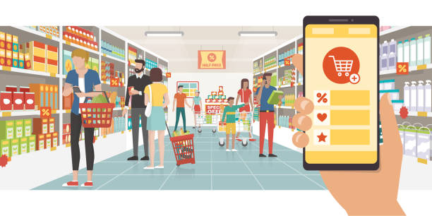 Grocery shopping app Grocery shopping app on a smartphone and people buying products at the supermarket, technology and commerce concept grocery store stock illustrations