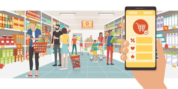 ilustrações de stock, clip art, desenhos animados e ícones de grocery shopping app - online shopping