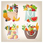 Set of various shopping bags filled with fruit, vegetables and other healthy goods from grocery store or local market. Isolated vector images