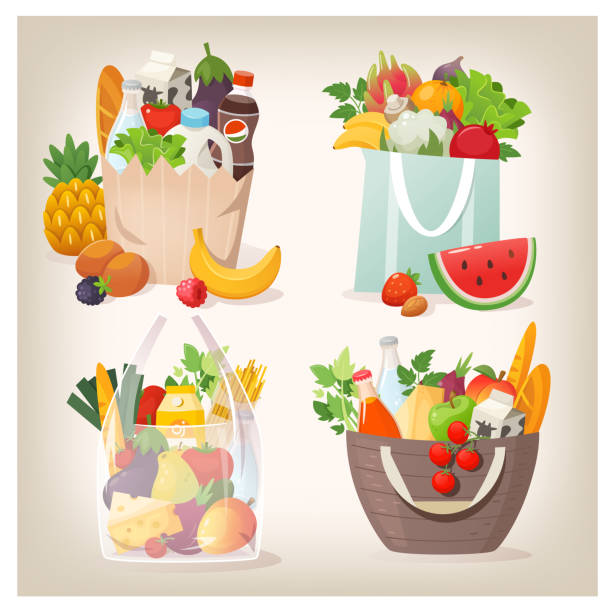 Grocery shopping bags filled with food Set of various shopping bags filled with fruit, vegetables and other healthy goods from grocery store or local market. Isolated vector images grocery store stock illustrations