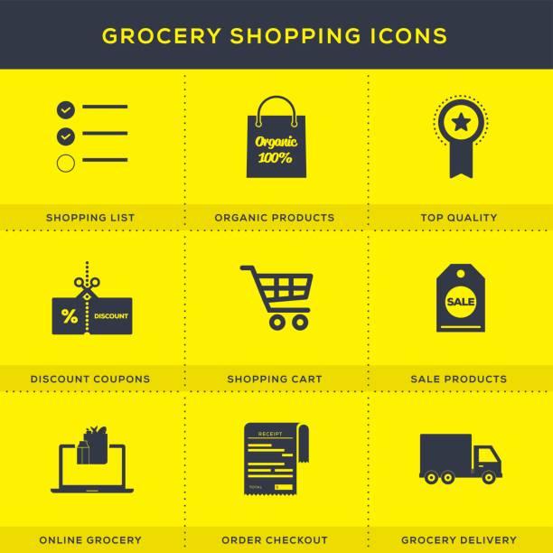 ilustrações de stock, clip art, desenhos animados e ícones de grocery shopping icons set - online shopping