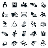 A set of grocery shopping and supermarket icons. The icons include customers, shoppers, shopping for groceries, groceries, milk, produce, shopping cart, grocery bag, doughnuts, couple eating, apron, cooking, paying, buying, coupon and other related icons.
