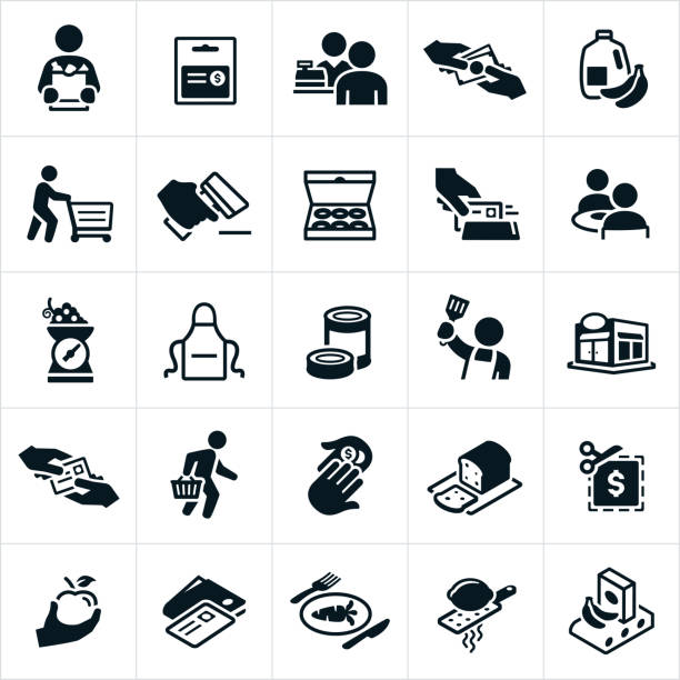 Grocery Shopping Icons A set of grocery shopping and supermarket icons. The icons include customers, shoppers, shopping for groceries, groceries, milk, produce, shopping cart, grocery bag, doughnuts, couple eating, apron, cooking, paying, buying, coupon and other related icons. grocery store stock illustrations