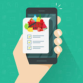 Grocery shopping list app on cellphone or smartphone vector illustration, flat cartoon person holding mobile phone and food products list to buy with checklist or checkmarks