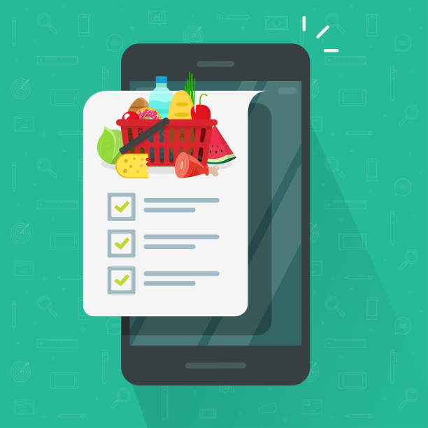 Grocery shopping list app on cellphone or smartphone vector illustration, flat cartoon mobile phone and food products list to buy with checklist or checkmarks isolated icon clipart vector art illustration