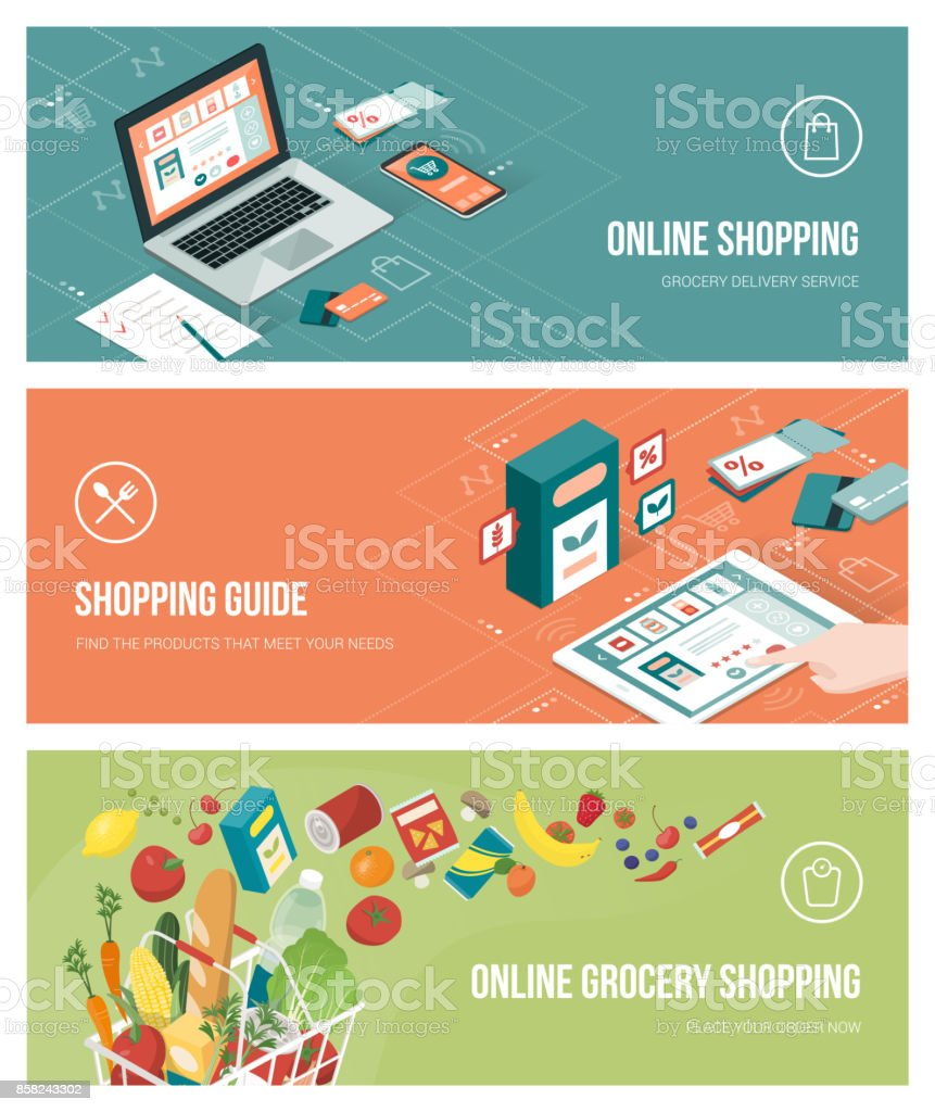 Grocery shopping online vector art illustration