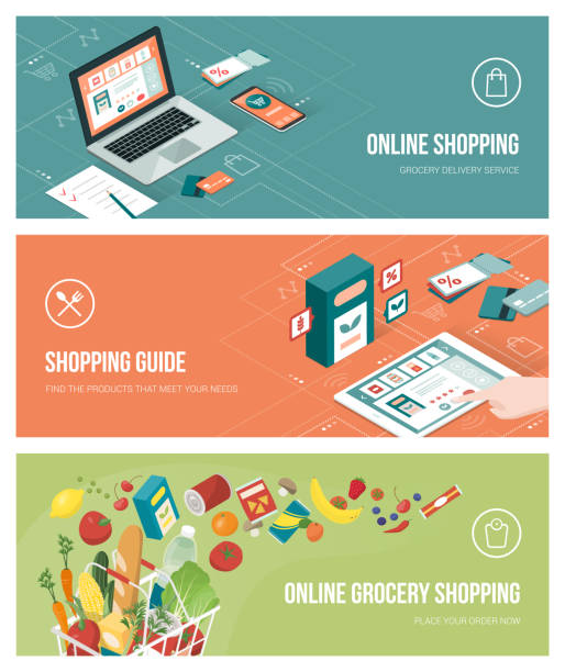 Grocery shopping online Grocery shopping online using apps on a laptop, smartphone and tablet; healthy eating, retail and technology concept shopping list stock illustrations