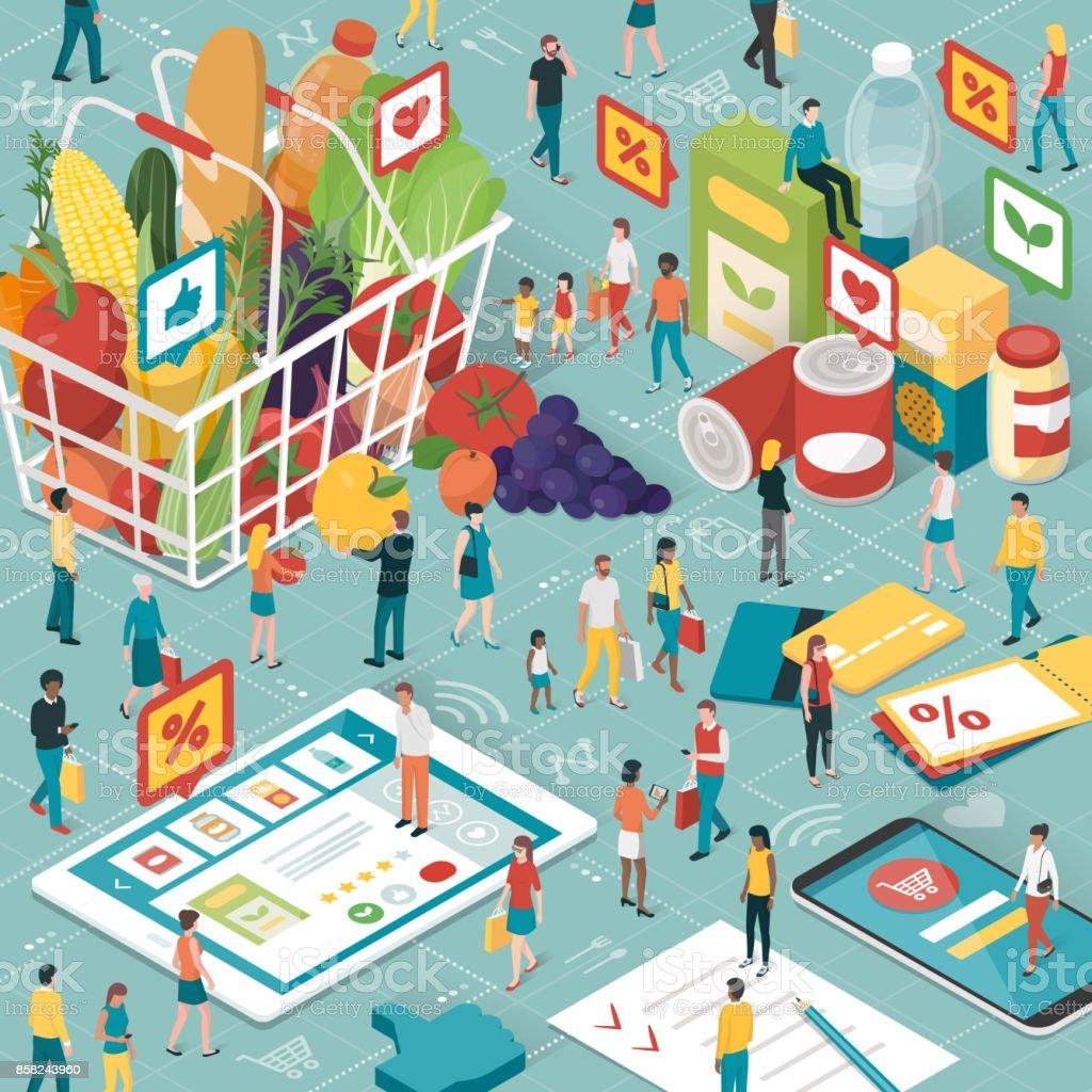 Grocery shopping online vector art illustration