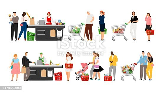 istock Grocery shopping queue 1179689980