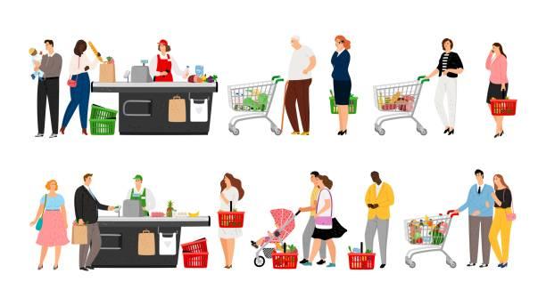 bildbanksillustrationer, clip art samt tecknat material och ikoner med matinköp kö - supermarket