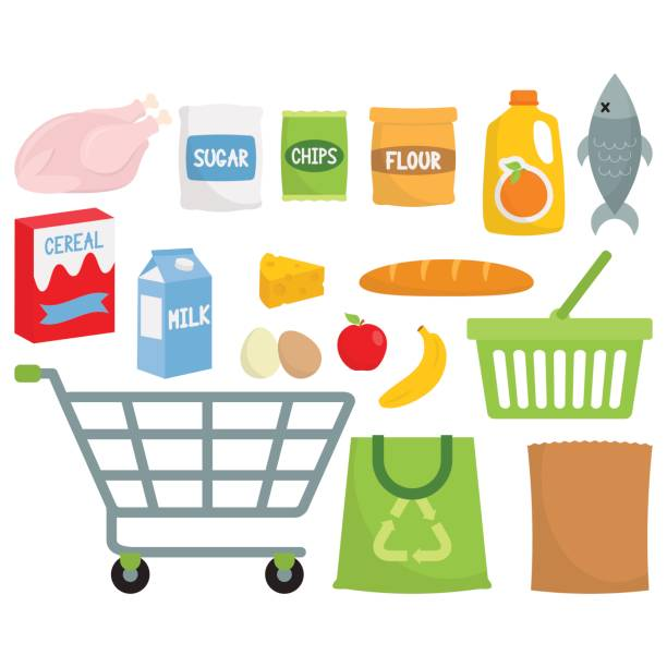 Grocery Shopping / Supermarket Produce Supermarket Produce shopping list stock illustrations