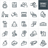 A set of grocery shopping icons that include editable strokes or outlines using the EPS vector file. The icons include a customer carrying a paper bag full of groceries, gift card, cashier, cash being used as payment, customer pushing a shopping cart, price scanner, box of doughnuts, person swiping credit card at check-out, gallon on milk, bananas, grapes, food scale, produce, apron, canned food, grocery store, food, payment using credit card, shopper carrying hand basket, sliced bread, coupon, apple, wallet, pie, seafood, conveyor belt and other related icons.