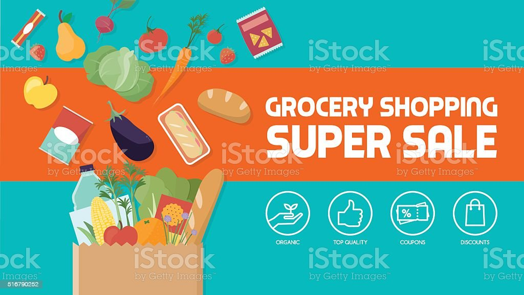 Grocery shopping vector art illustration