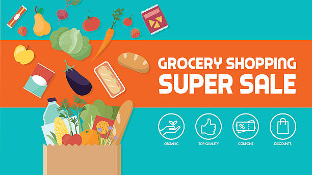Grocery shopping Grocery shopping discount banner, paper shopping bag filled with vegetables, fruits and other products grocery store stock illustrations