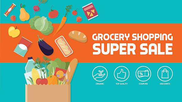 ilustraciones, imágenes clip art, dibujos animados e iconos de stock de compra de comestibles - grocery store