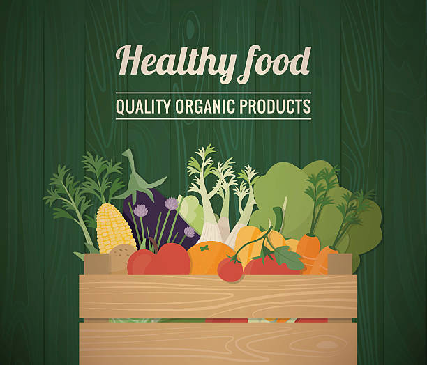Grocery shopping Healthy freshly harvested vegetables in a wooden crate and grocery shopping concept banner farmer's market stock illustrations