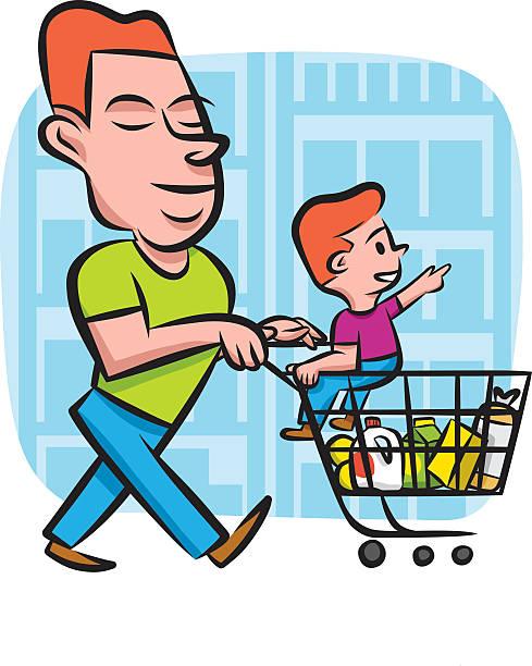 grocery shopping with dad - hausmannskost stock-grafiken, -clipart, -cartoons und -symbole