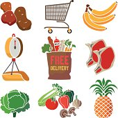A vector illustration of icons about grocery shopping with free delivery.