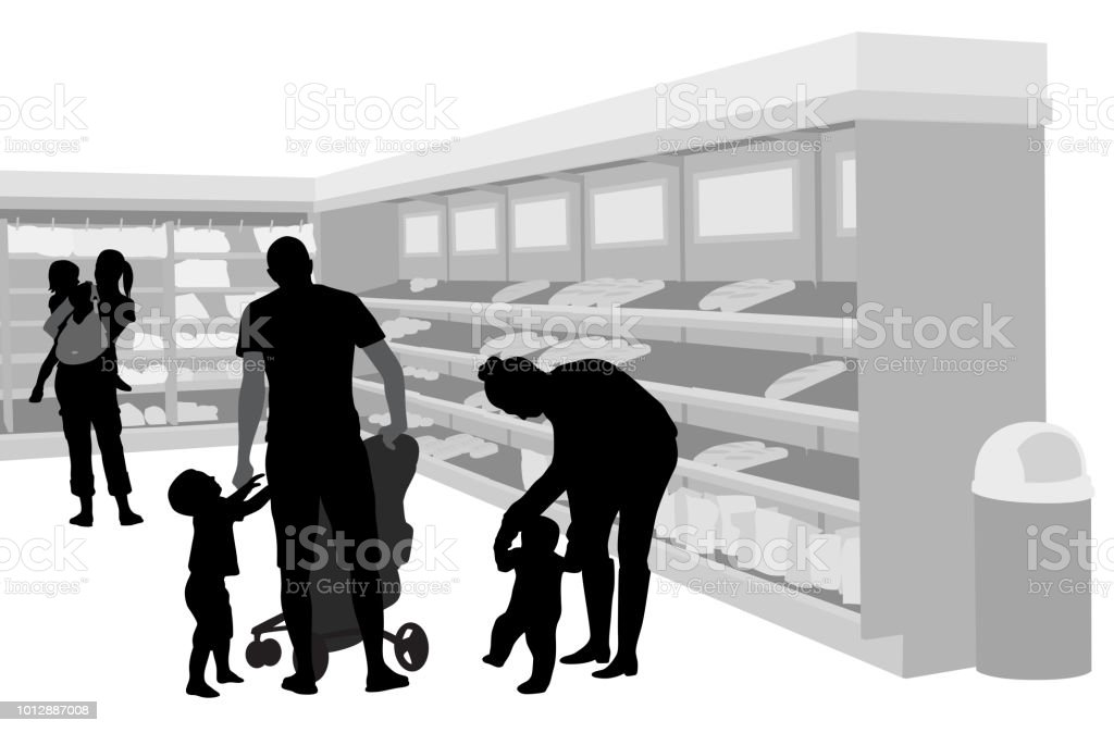 Grocery Shopping With Young Kids vector art illustration