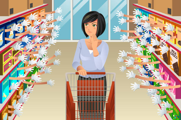 Grocery Shopping Woman With Many Choices Illustration A vector illustration of Grocery Shopping Woman Faced With Too Many Choices grocery aisle stock illustrations