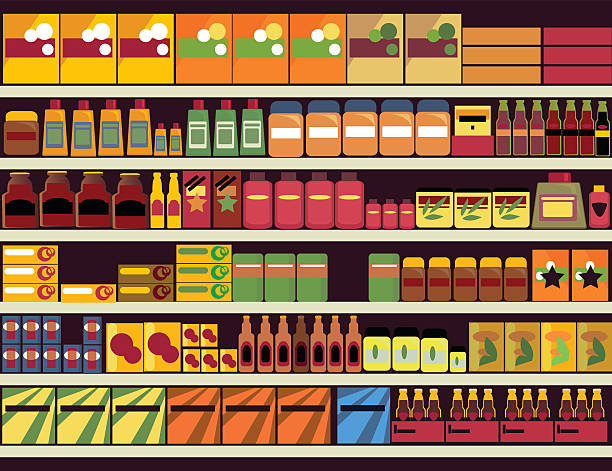 Grocery store background Grocery store shelves filled with canned and boxed goods, ESP 8, no transparencies grocery aisle stock illustrations