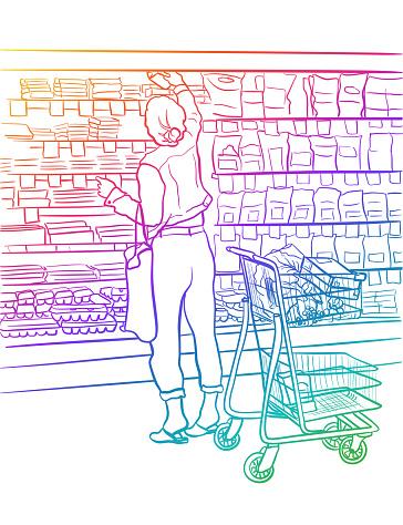 Grocery Store Dairy Customer Rainbow