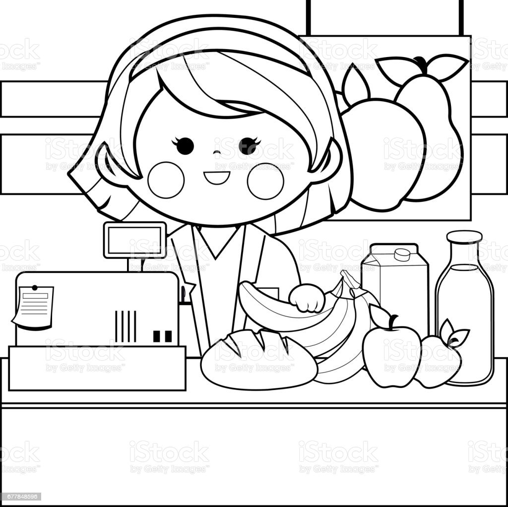 Grocery Store Employee At The Counter Black And White Coloring Book