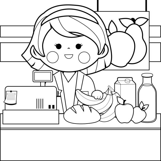 Grocery store employee at the counter. Black and white coloring book page Grocery store female employee at the counter with products. Black and white coloring page illustration banana borders stock illustrations