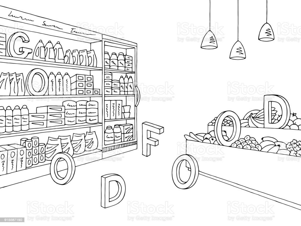 Grocery Store Graphic Shop Interior Black White Sketch