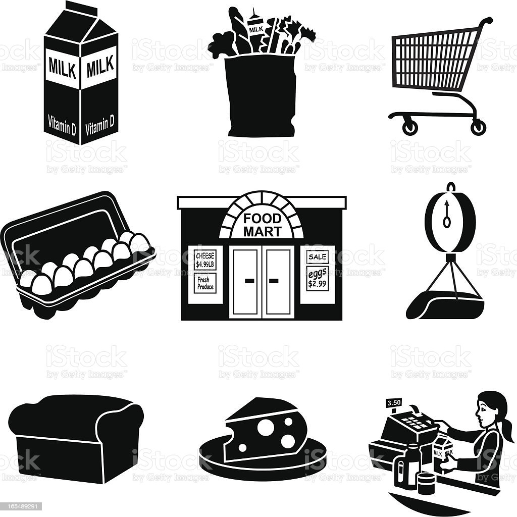 Grocery Store Icons Stock Vector Art & More Images of Bag ...