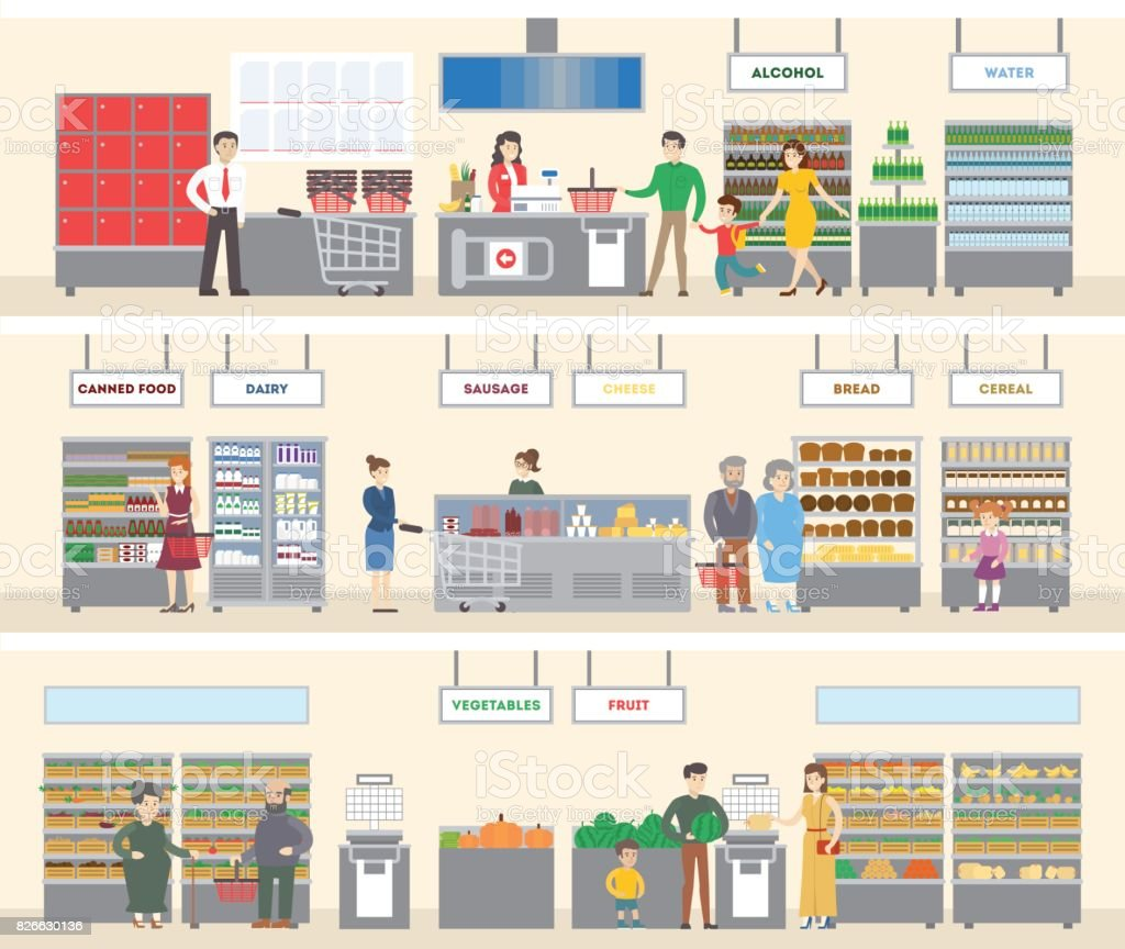 Grocery store interior. vector art illustration