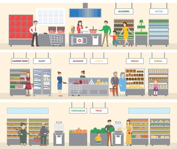 stockillustraties, clipart, cartoons en iconen met interieur van de supermarkt. - warenhuis