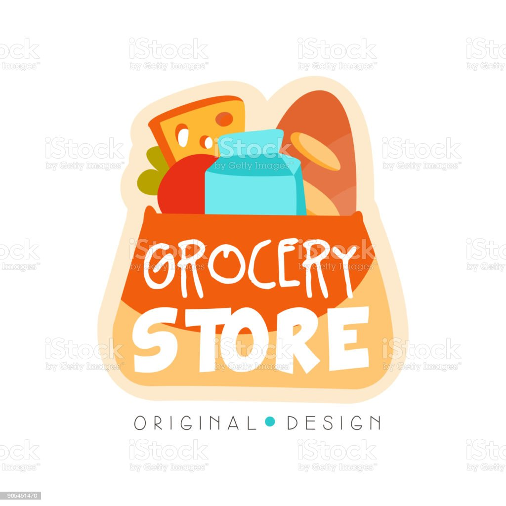 Grocery store logo design template, fresh food shop label vector Illustration on a white background royalty-free grocery store logo design template fresh food shop label vector illustration on a white background stock vector art & more images of advertisement