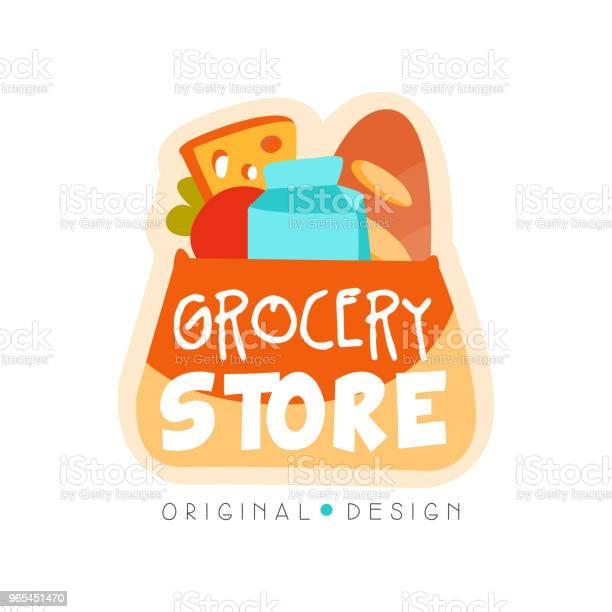 Vetores de Mercearia Modelo De Design De Logotipo Vetor De Etiqueta De Loja Alimentos Frescos Ilustração Sobre Um Fundo Branco e mais imagens de Alemanha