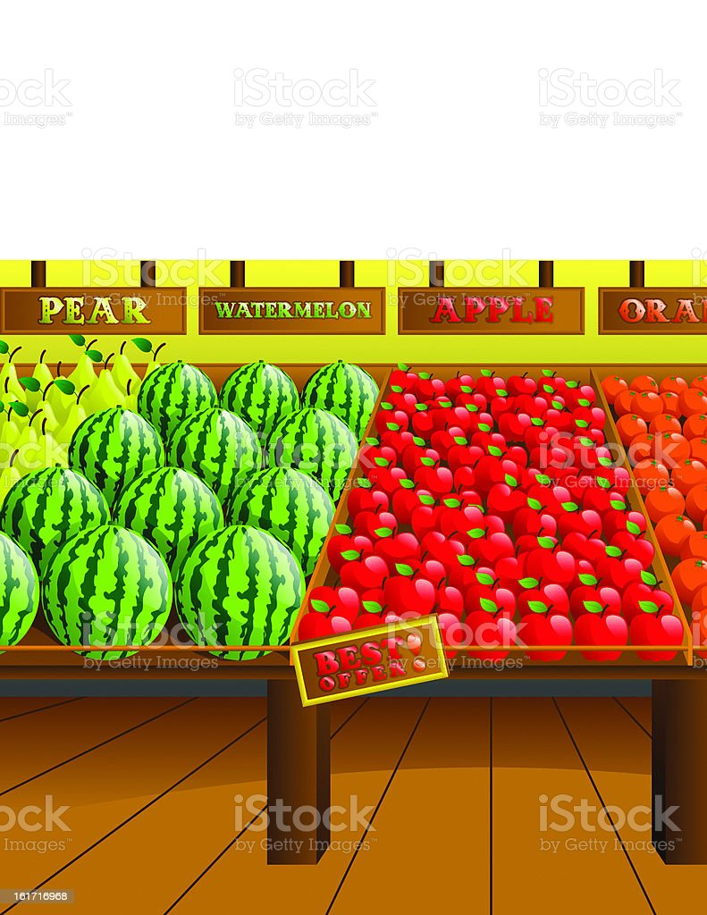 Grocery store produce aisle royalty-free stock vector art