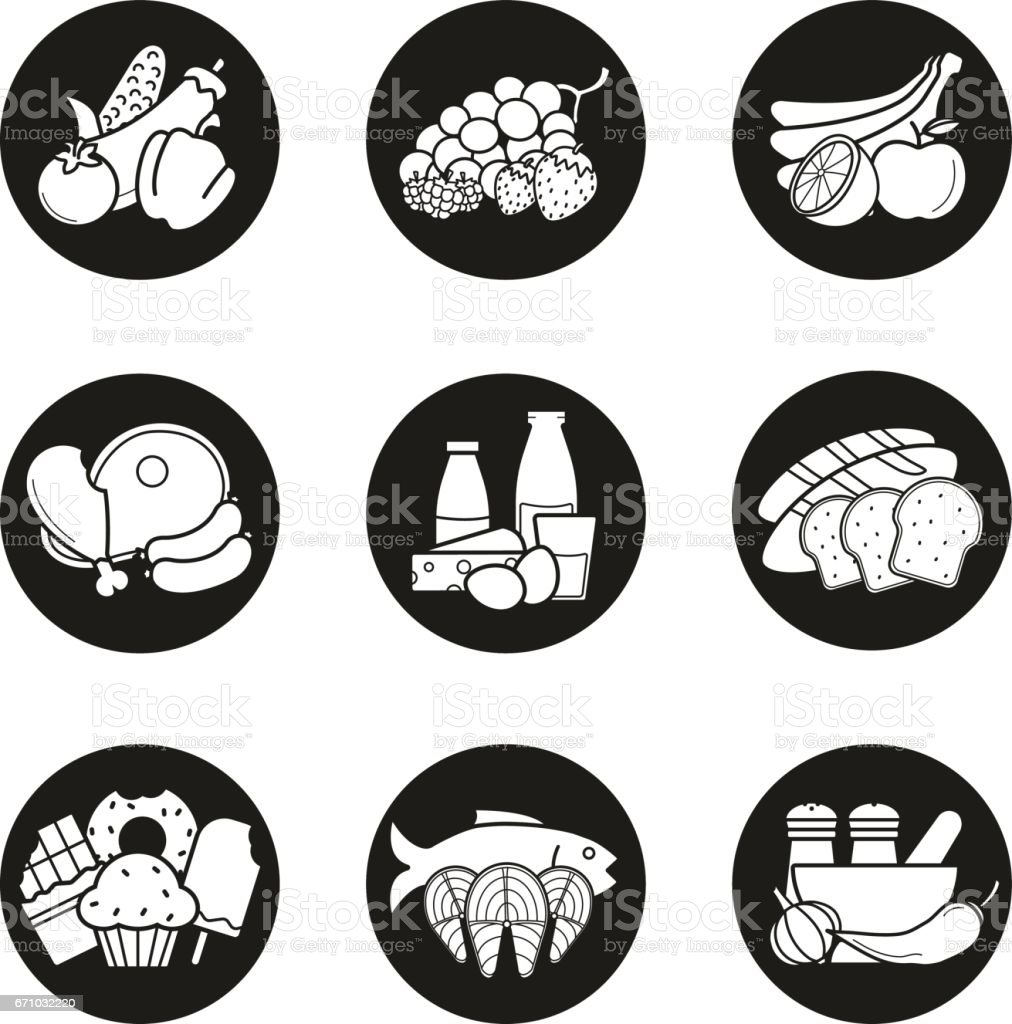 grocery store product categories icons stock vector art more