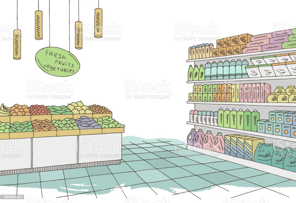 Grocery store shop interior color graphic sketch illustration vector - Royalty-free Blue stock vector