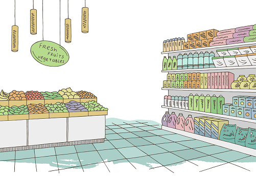 Grocery Store Shop Interior Color Graphic Sketch Illustration Vector Stock Illustration - Download Image Now
