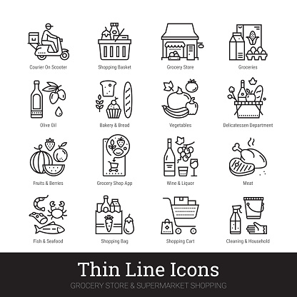 Grocery Store, Supermarket Department Thin Line Icons Set Isolated On White Background. Illustrations Clip Art. Editable strokes.