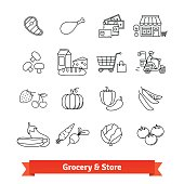 Grocery store thin line art icons set