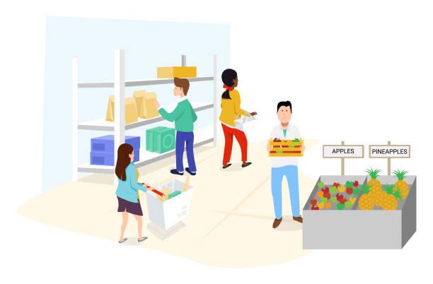 Grocery Store vector art illustration