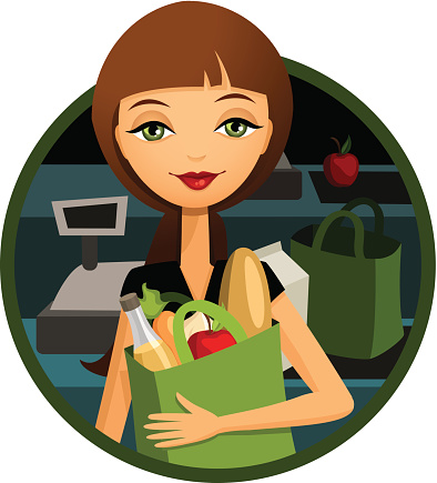Grocery Store: Woman Shopping for Food, Reusable Bag