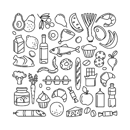 Grocery supermarket goods pattern store food, drinks, vegetables, fruits, fish, meat, dairy, sweets