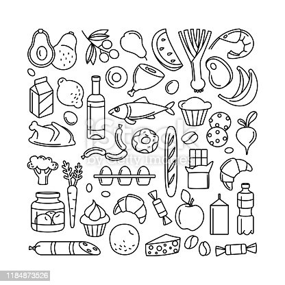 Supermarket grosery store food, drinks, vegetables, fruits, fish, meat, dairy, sweets market products goods thin line icons background pattern. Vector illustration frame border in linear simple style.Supermarket grocery store food, drinks, vegetables, fruits, fish, meat, dairy, sweets market products goods thin line icons background pattern. Vector illustration frame border in linear simple style.