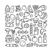 istock Grocery supermarket goods pattern store food, drinks, vegetables, fruits, fish, meat, dairy, sweets 1184873526
