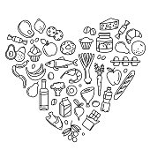Supermarket grocery store food, drinks, vegetables, fruits, fish, meat, dairy, sweets market products goods thin line icons heart shape background pattern. Vector illustration in linear simple style.