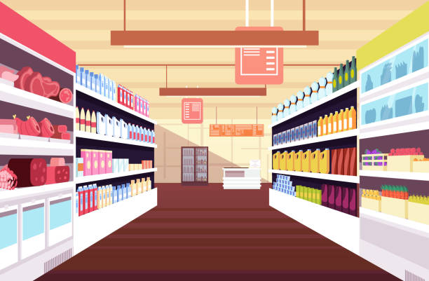 Grocery supermarket interior with full product shelves. Retail and consumerism vector concept Grocery supermarket interior with full product shelves. Retail and consumerism vector concept. Illustration of supermarket and shop, grocery interior grocery aisle stock illustrations