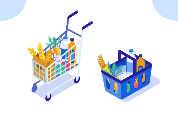 grocery Grocery cart and basket. Flat isometric vector illustration isolated on white background. grocery store stock illustrations