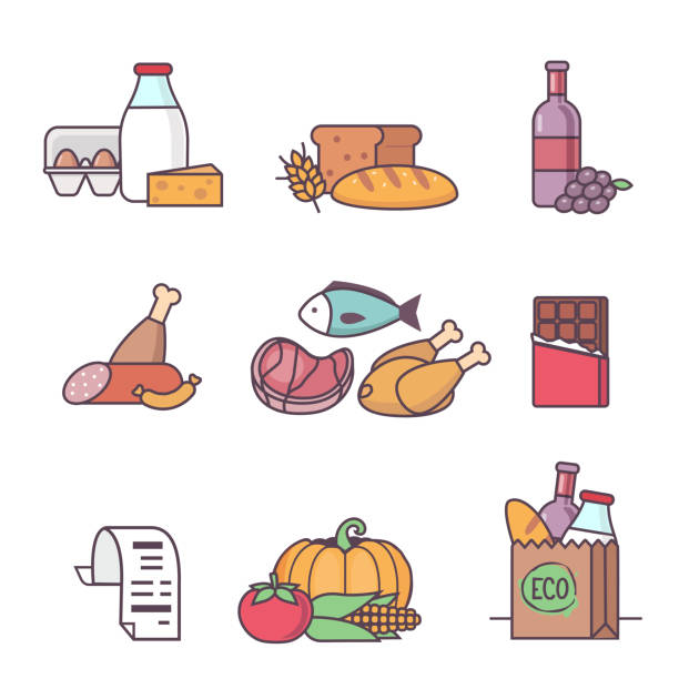 Grocery Grocery food icons. Different supermarket products. Modern flat line style vector illustrations. shopping list stock illustrations